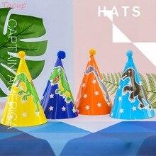 Taoup 1pc Cute Cartoon Dinosaur Hat Paper Jungle Safari Party Favors Disposable Tableware Birthday Supplies