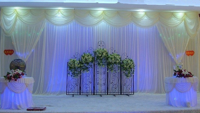 10ft 20ft white party decoration backdrop curtain with swag for diy