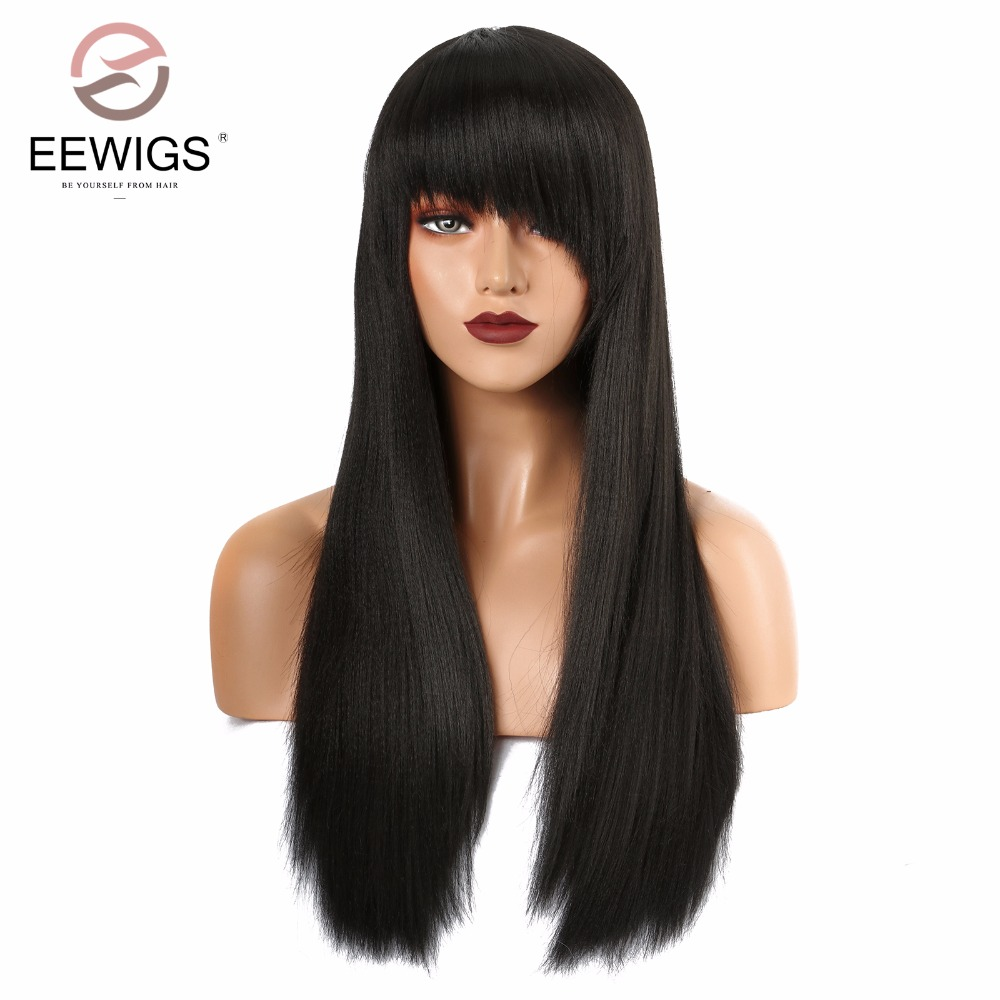 Long Wig with Oblique Bang Natural Yaki Straight Synthetic Wigs for Women Black Lace Front Wig Heat Resistant Natural Fiber Hair
