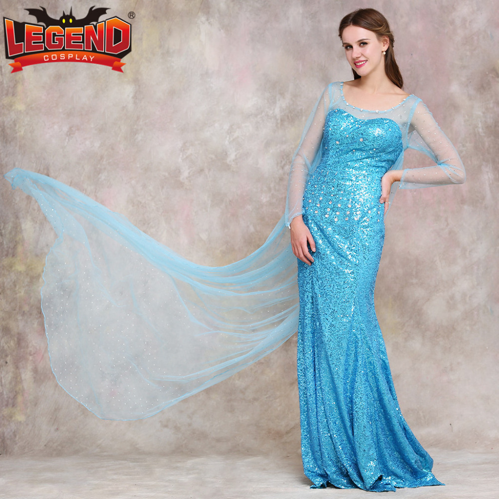 Elsa Princess Dress Adult Elsa Cosplay Costume Wedding Dress ...