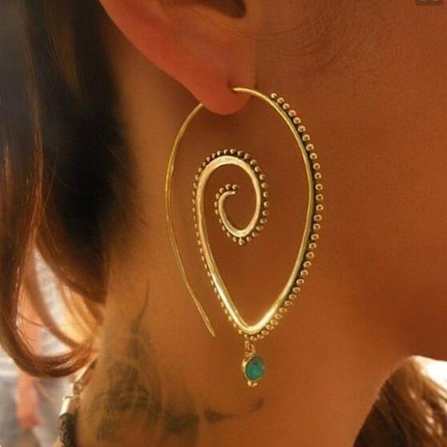 E0448 Bohemian Style Swirl Hoop Earring For Women Gold Color Big Circle Earring