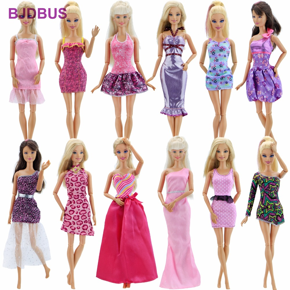 Random 12 PCS / Lot High Quality Handmade Dress Wedding Party Wear Mixed Style Skirt Clothes For Barbie Doll Accessories Gift random 12 pcs mixed sorts barbie doll fashion clothes beautiful handmade doll party dress for barbie dolls girl gift kid s toy