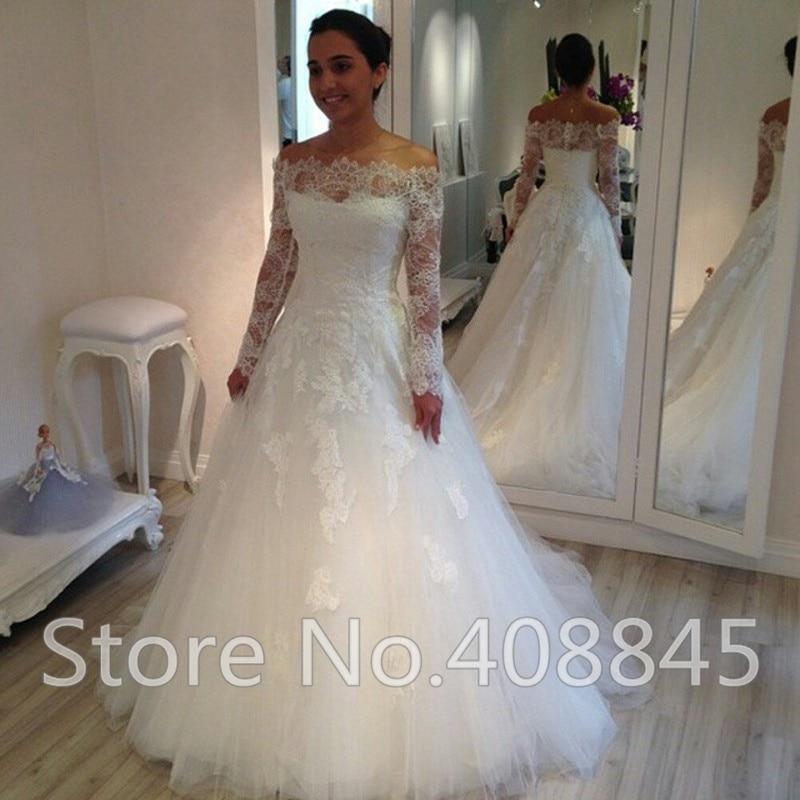 Robe De Mariee Romantic Lace Cheap Wedding Dress 2015 Plus Size Sexy Off  Shoulder Long Sleeve Wedding Dresses Bridal Gowns In Wedding Dresses From  Weddings ...