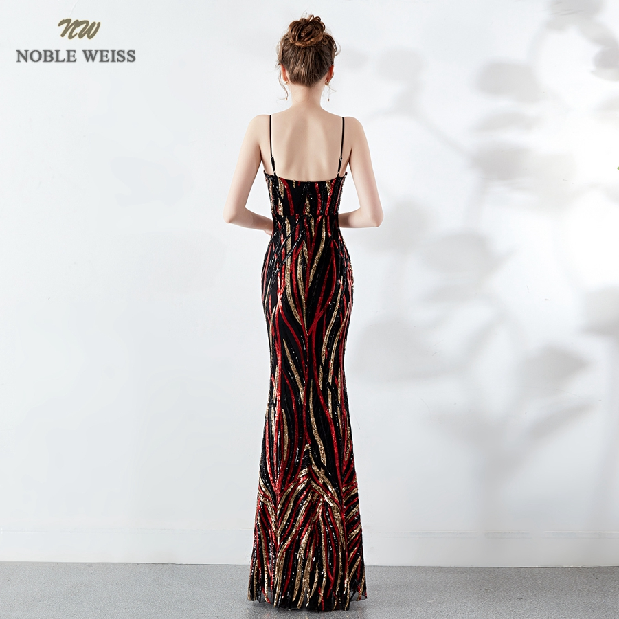 Robes de bal 2019 sexy longue sirène robe de bal vestidos de fiesta largos col en v dos nu coloré sequin robes de soirée - 2