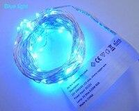 10 unids/lote Multicolor 100 M $ number Pies de Alambre de Plata 1000 LEDs Luces Estrelladas 5 V DC LLEVÓ la Luz de Cadena con NOSOTROS Adaptador de corriente