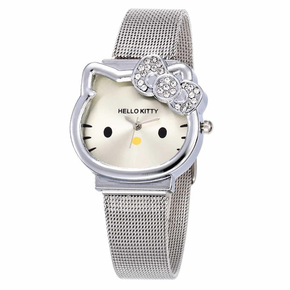 0d040c2df Cat Quartz Hello Kitty Watch Women Luxury Fashion Lady Girl Silver  Stainless Steel Net Band Cute