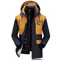 Комплект из 2 предметов, ветровка с капюшоном, зимнее пальто, мужские пуховики и пальто, верхняя одежда, Толстая теплая парка, непромокаемая