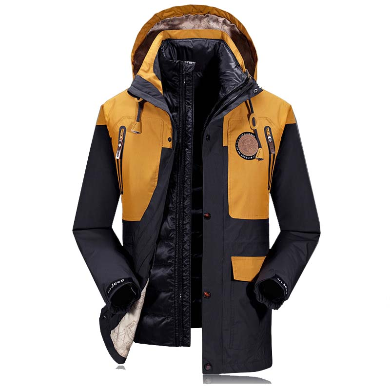 2 Piece Set Hooded Windbreaker Winter Coat Men Down Jackets and Coats OUTWEAR Thick Warm   Parka   Waterproof Clothes
