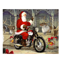 Santa Claus Riding A Motorcycle Christmas Diamond Embroidery Needlework Diamond Painting Cross Stitch Rhinestones Mosaic M515