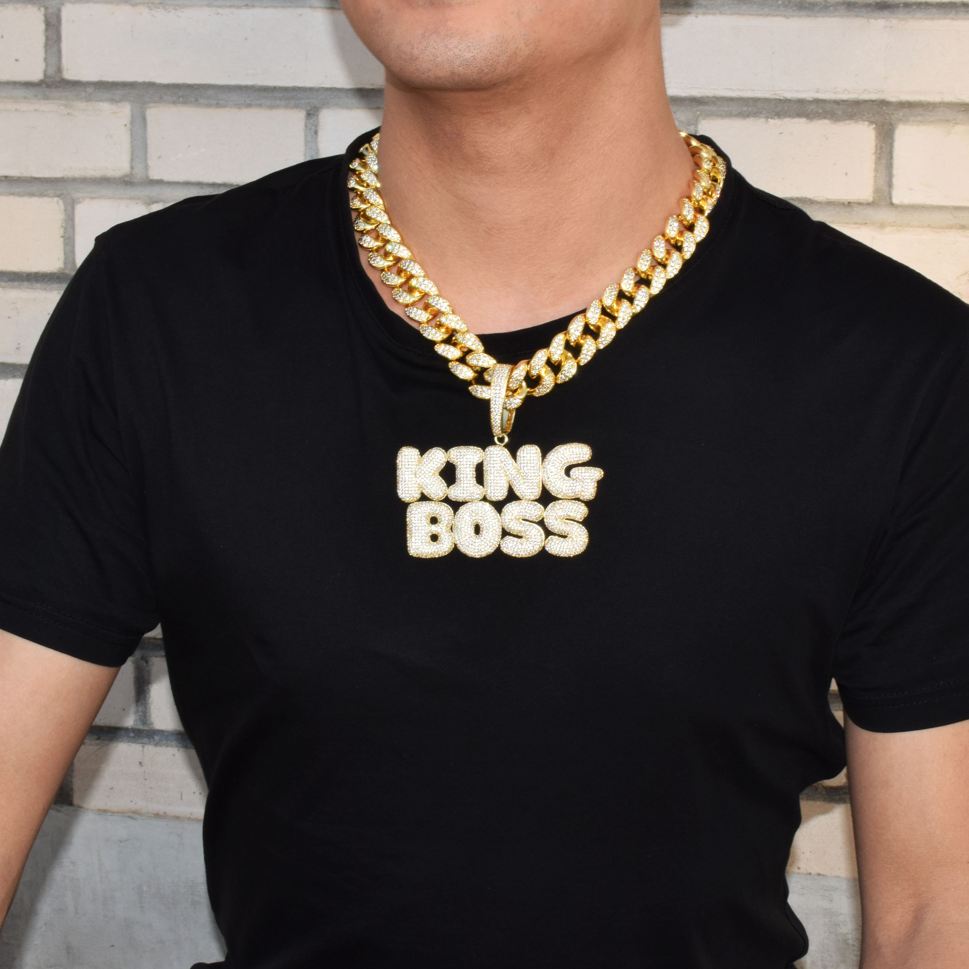 Image 2 - With 20MM Cuban Chain Custom Name Bubble Letters Chain Pendants Necklaces Men's Zircon Hip Hop Jewelry For Gift-in Chain Necklaces from Jewelry & Accessories