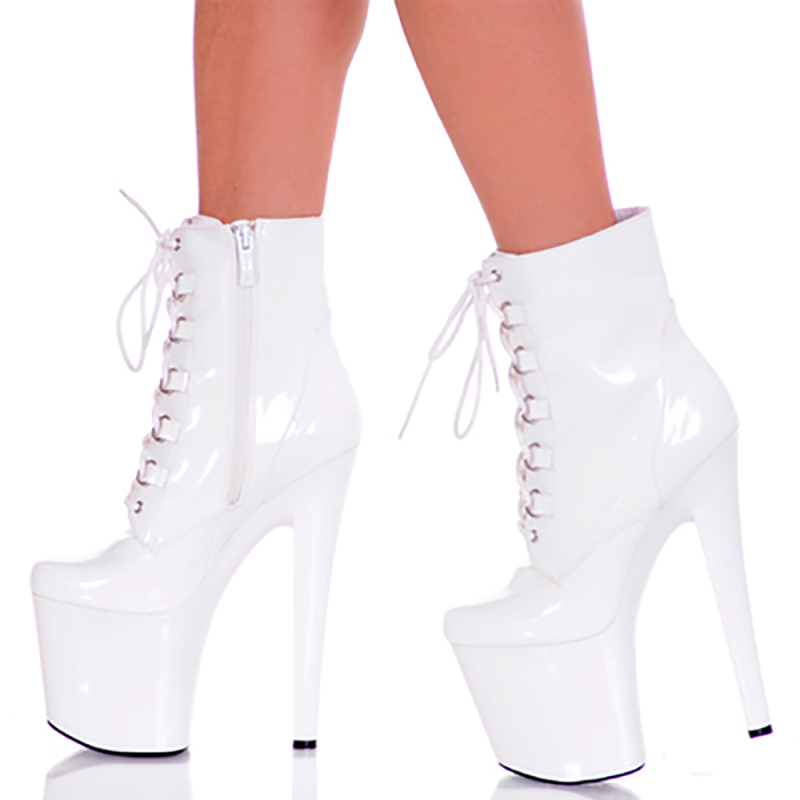 4fb4c154b1 Ankle Boots Women Shoes Platform 20cm High Heels Black White Pink Lace Up  Zipper Patent Leather Fenty Beauty Boots Ladies Shoes-in Ankle Boots from  Shoes on ...