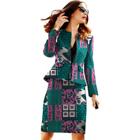 African print outfits for women skirt suits dashiki o neck blazer jacket party/wedding wear African clothes