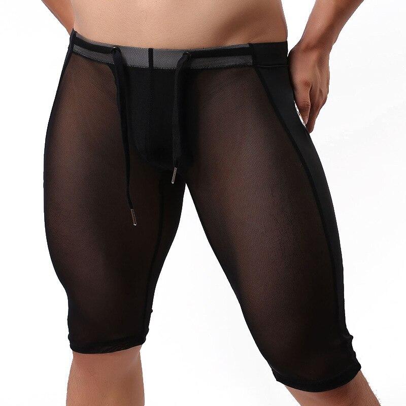 Mens swimwear sexy Swimming Trunks underwear tight panties yoga hot sport summer pants men swimsuits sheer see through