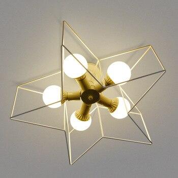 현대 led 천장 조명 오각형 철 황금 천장 조명 침실 거실 복도 복도 램프 금속 천장 전등 갓