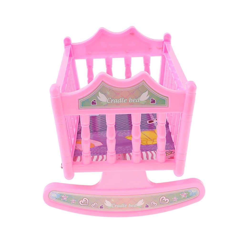 Banyak Warna Bayi Goyang Bed Nursery Cradle untuk 20 Cm Dolls House Furniture Kamar Tidur Berwarna Merah Muda