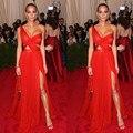 Met Gala Longo Macio Chiffon Womens Vestido Do Tapete Vermelho Sexy vestidos Profunda Um Ombro High Side Dividir Vestidos Celebridades Vestidos de Noite vestido