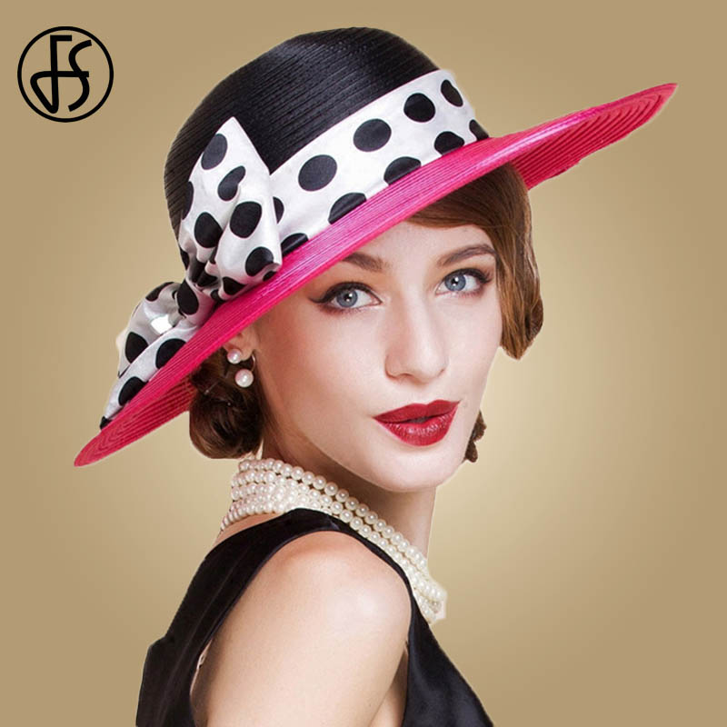 FS Elegant Women Wide Brim Rose Black Patchwork Polka Dots Kentucky Derby Hat For Wedding Party