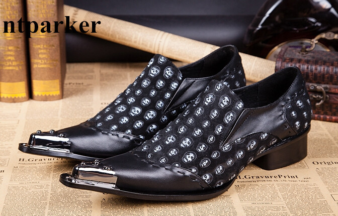 Vintage Fashion Men Formal Dress Oxford Shoes Slip On Business Zapatos  Hombre Pointed Toe Skull Print e13cfc951771