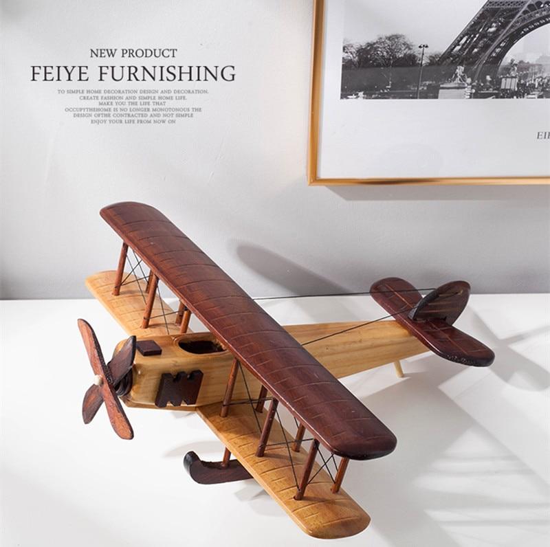 Modèle d'avion statique en bois réplique artisanat bois ameublement enfants cadeaux - 4
