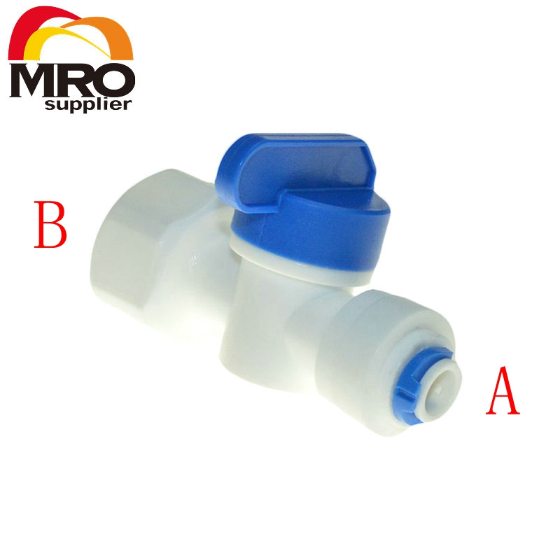 Equal Straight 1/2 Female-3/8 1/4 Tube Ball Valve Swicth Quick Connection RO Water Aquarium Osmosis System ST012