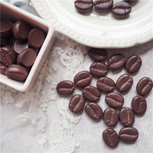 30pcs 14x17mm Cute 3D Resin Simulation Coffee Bean Food Art Flatback Cabochon DIY Craft Decoration
