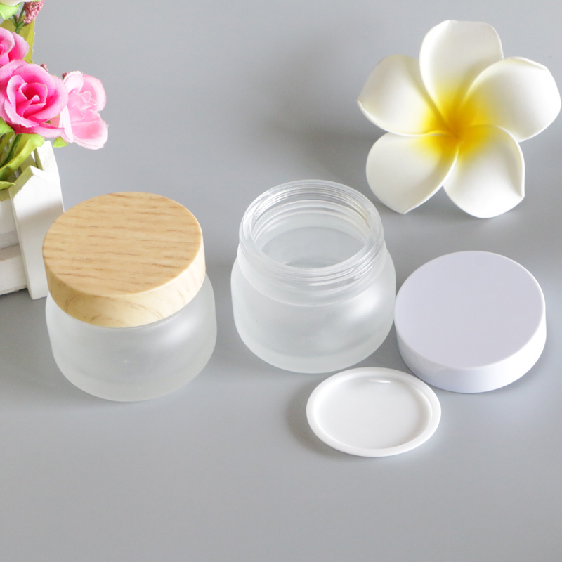 50g Bamboo Cap Wood Lid Glass Frosted White Cosmetic Cream Packaging Bottles For Makeup Eye Face Skin Care Lotion Mask 6pcs/Lot