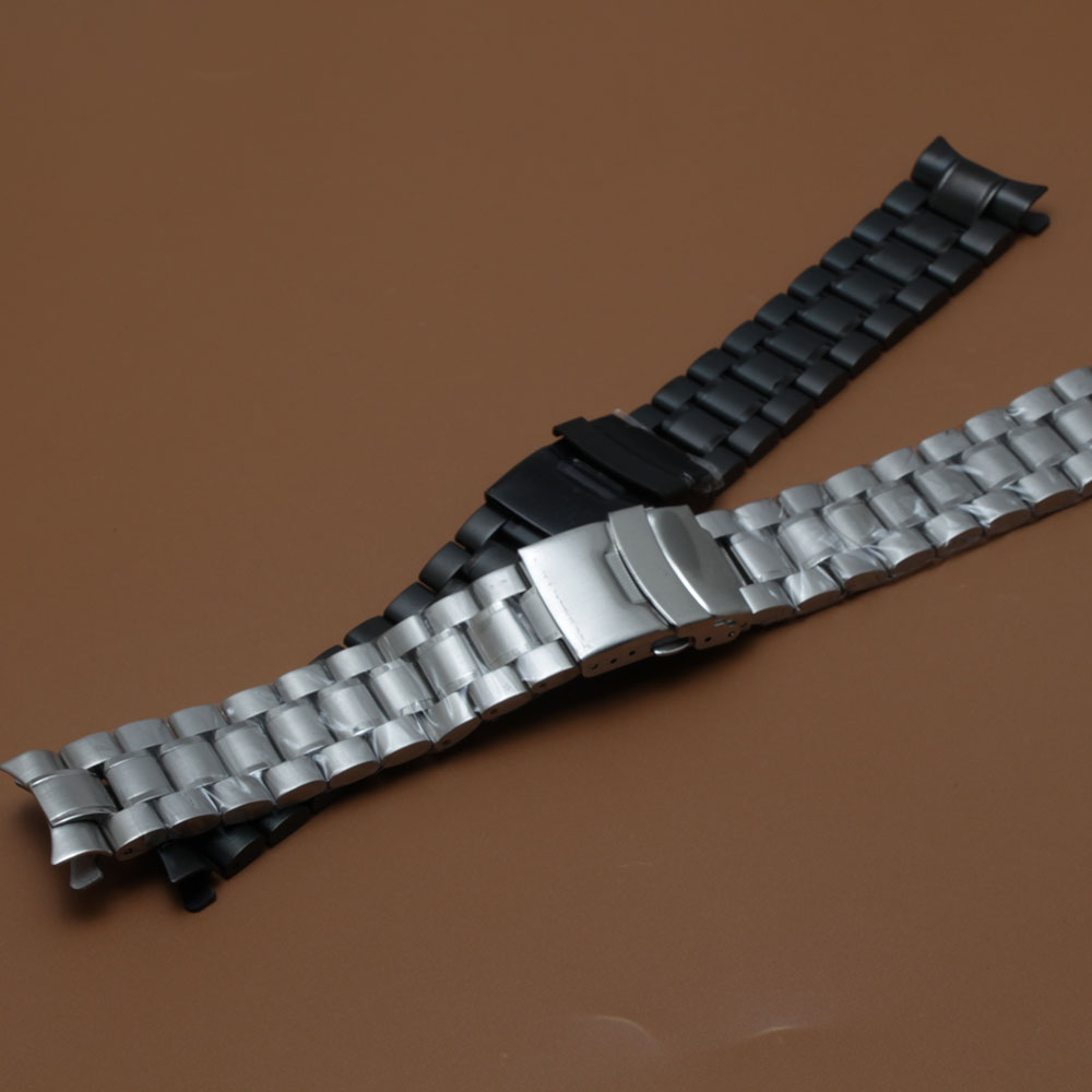 Stainless steel Watchband strap bracelet Silver and black safety Buckle folding deployment watch bands curved end 18 20 22 24mm watchband stainless steel metal watch bands curved end 18mm 20mm 22mm 24mm silver black for common men watches safety buckle new