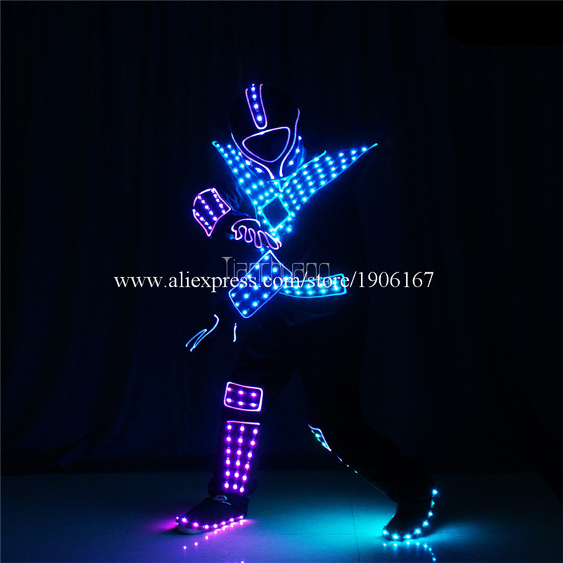 Programmable Men led robot costumes dance costumes robot suit full color led light dj clothes luminous stage wears disco4