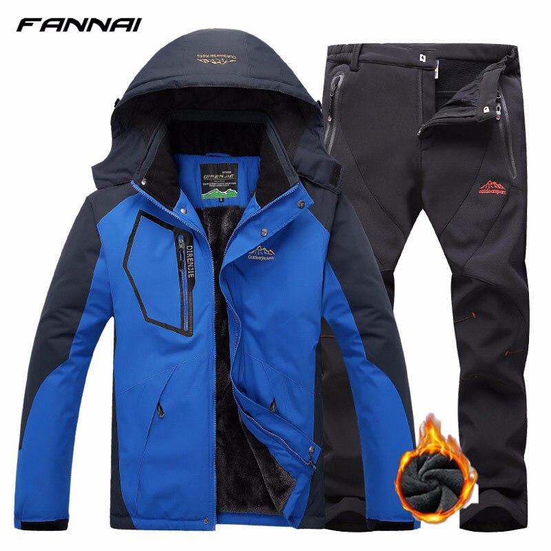 Outdoor Trekking Camping Jacket Set Pants Man Winter Heated Set Waterproof Fishing Hiking Tracksuit Softshell Fleece
