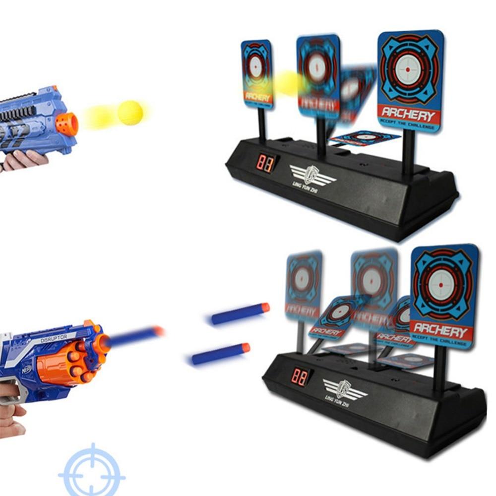 1 satz Kinder Reset Elektronische Ziel Schießen Punktzahl Kugel Ziel Spielzeug für Nerf Spielzeug Weichen Kugeln Blaster Training Gerät Fall