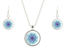 Fashion 2015 blue Mandala Necklace earring,Art Glass Pendant,Meditation Jewelry sets,Glass Dome Necklace Vintage Sacred Geometry
