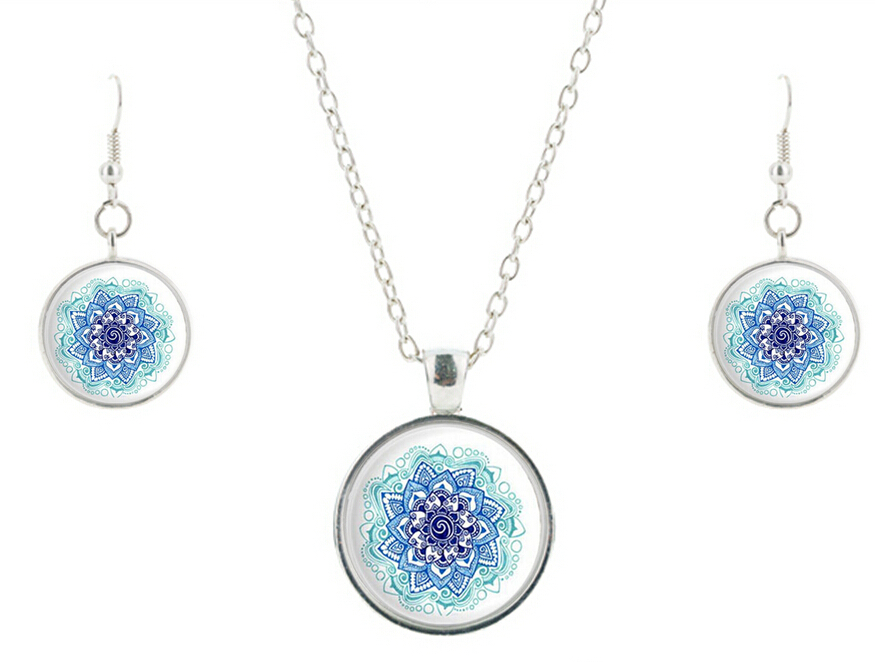 Fashion 2015 blue Mandala Necklace earring Art Glass Pendant Meditation Jewelry sets Glass Dome Necklace Vintage