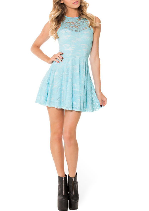 2015 New Arrival Women Lace Skater Dress Sexy Blue Lace Dress Sleeveless  Pleated Skater Dress Hollow Sleeveless Dress-in Dresses from Women s  Clothing on ... 9e3dfd206