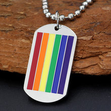youe shone Stainless Steel Classic Gay Flag Rainbow Dog Tag LGBT Gay and Lesbian Pride Necklace(China)
