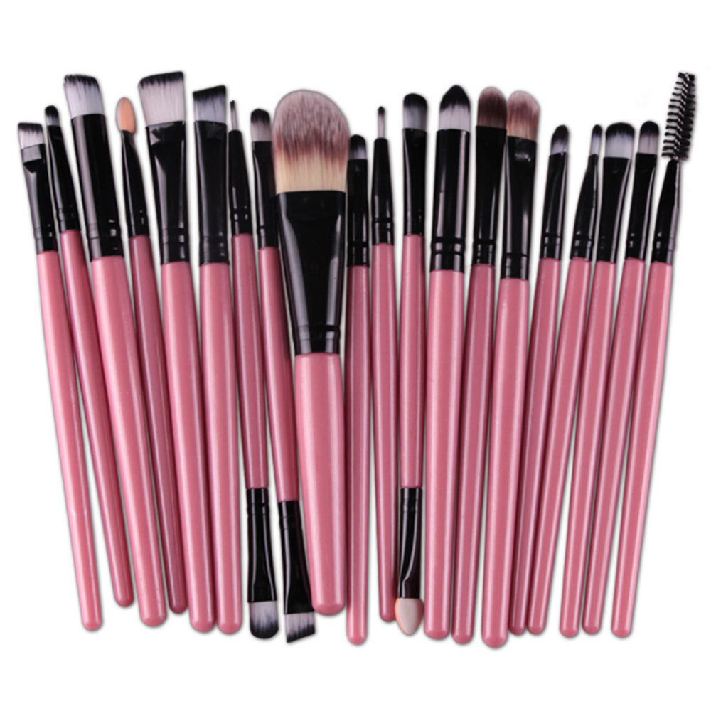 20Pcs Eyes Face Makeup Brushes Set 22Colors Pro Eyeliner Eyelash Eyeshadow Blusher Powder Foundation Brushes Cosmetic Beauty Kit 7 pcs cosmetic face cream powder eyeshadow eyeliner makeup brushes set powder blusher foundation cosmetic tool drop shipping