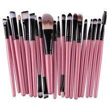 20Pcs Eyes Face Makeup Brushes Set 22Colors Pro Eyeliner Eyelash Eyeshadow Blusher Powder Foundation Brushes Cosmetic Beauty Kit