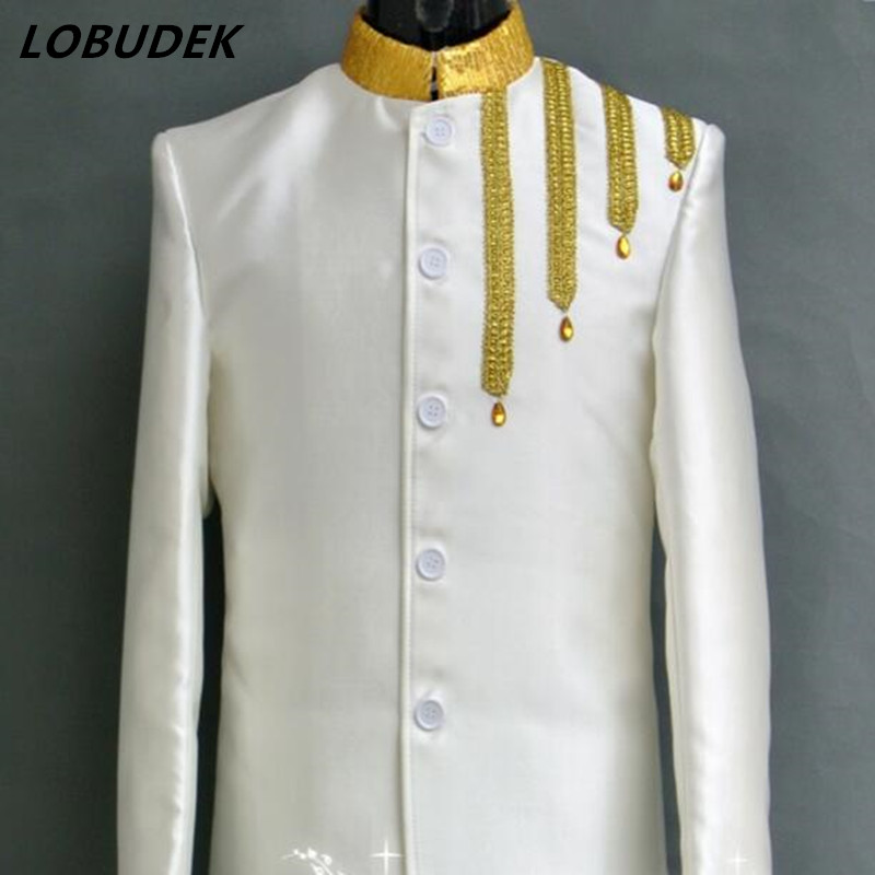 Male costumes Embroidery jacket sequins China style uniform brazer coat singer dancer show stage party host band performance