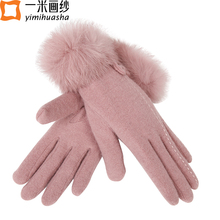 Women winter warm gloves rabbit fur wrist full finger glove mittens female dual velvet wool thermal fleece gants femme wholesale
