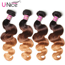 "Unice Hair 4 PCS Ombre Brazilian Hair Body Wave Bundles Three Tone Remy Human Hair Weaving 16""-26"" Free Shipping Hair Extension(China)"