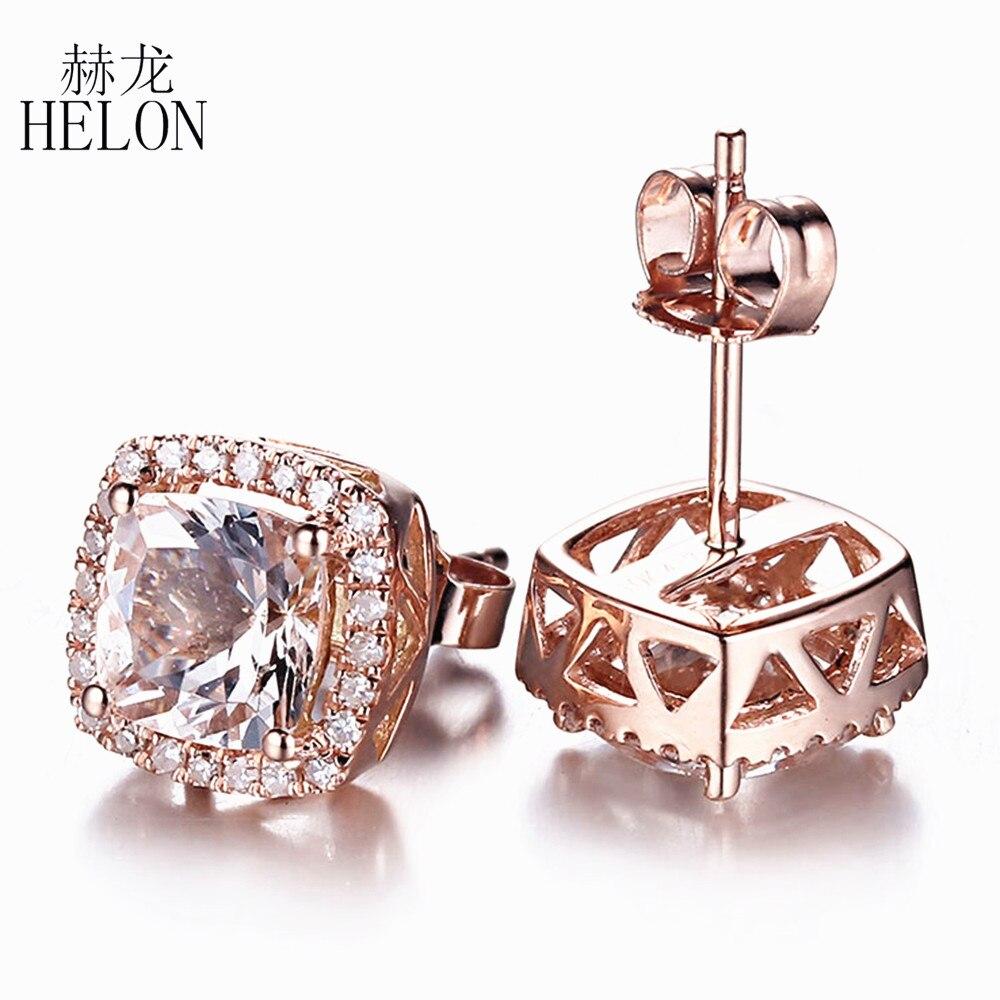 HELON Solid 14K Rose Gold Elegant Fine Jewelry Ladies 6mm Cushion Cut Morganite Earrings Pave Natural Diamonds Stud Earrings