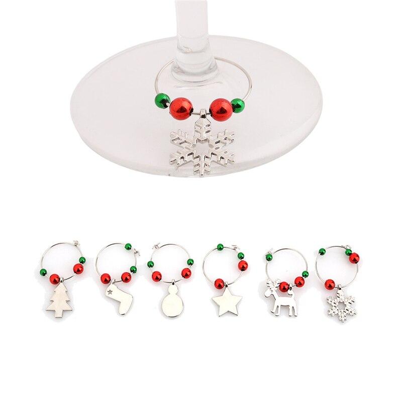 2016 hot sale 1 set christmas wine glass decoration charms for Christmas decoration sales 2016