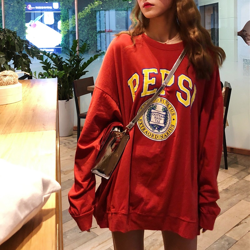 Korean Oversized Thin Hoodies 2020 Autumn Women Sweatshirts Letter Print Casual Pullover Kawaii Cute Long Sleeve Streetwear Tops