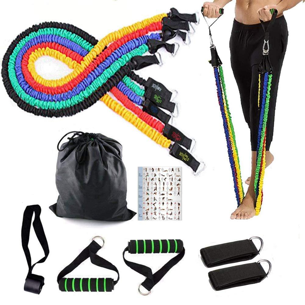 Resistance Bands Crossfit Workout Exercise Bands With Door Anchor Handles Leg Straps Pull Rope Home Fitness Gym Muscle Training