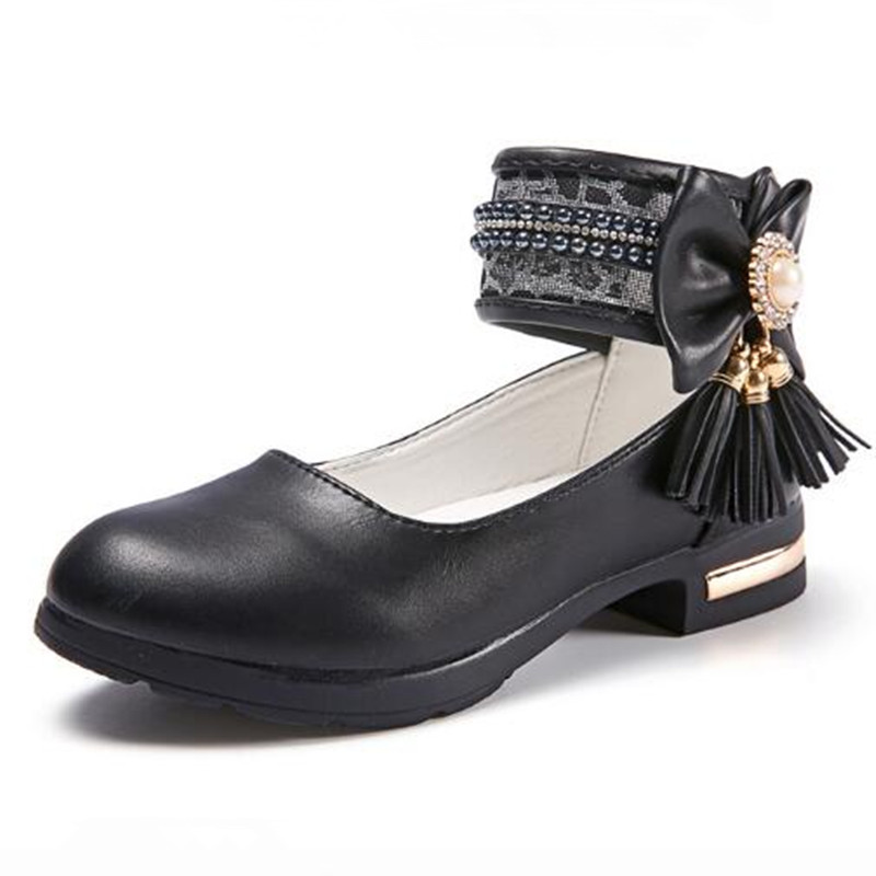 Girls Shoes New Childrens Beaded Shoes Child High-heeled Princess Sneaker Casual Girl Patent Leather White Bowknot Prom Shoe