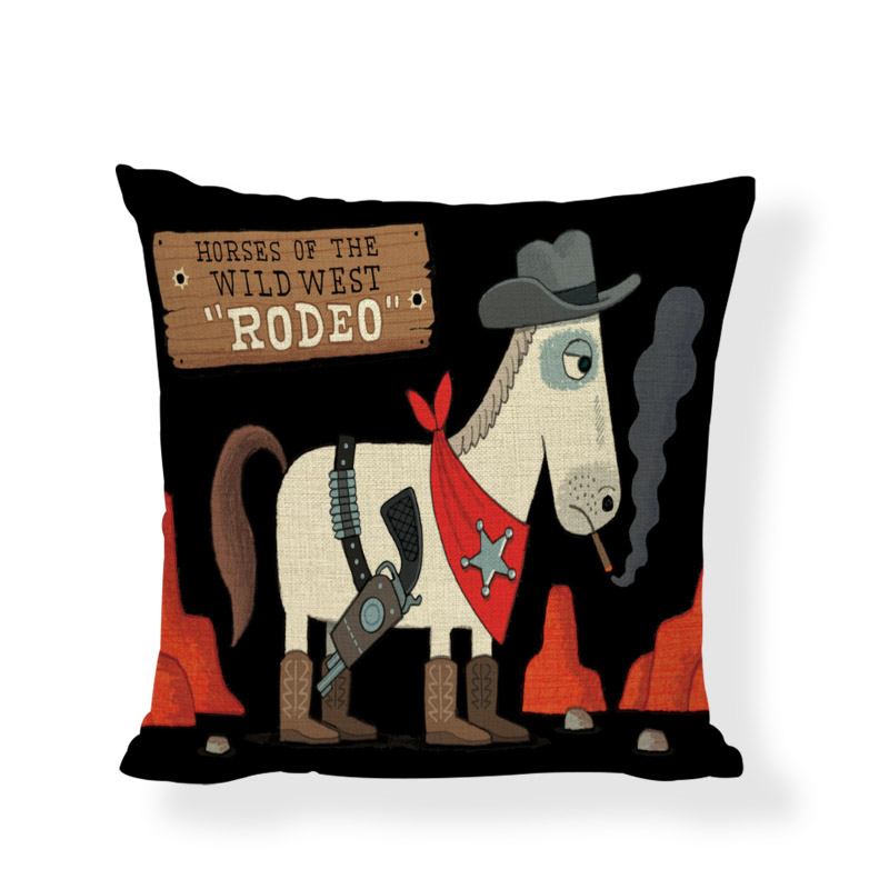 Ковбой лошадь индийский Животные узор Бросок Наволочка 30*50 см 45*45 см камни Rodeo чехлы диван дома Гостиная Декор автомобилей