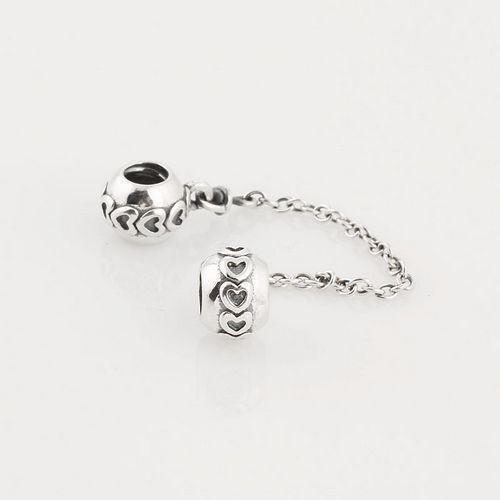 925 Sterling Silver Clip Core Lock Safety Amor Del Encanto Del Corazón cuentas con Encanto de La Joyería DIY Fit Para Europea Granos pulsera