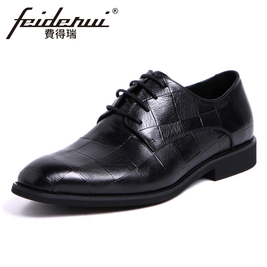 2018 New Elegant Men's Formal Dress Office Footwear Genuine Leather Round Toe Lace-up Man Derby Wedding Party Shoes YMX403 plus size new arrival men s formal dress office footwear genuine leather round toe lace up man derby wedding party shoes ymx410