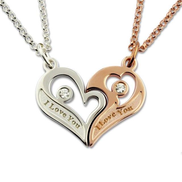 d9f131457f5a Al por mayor del corazón del amor para las parejas grabado plata doble  corazones collar piedra