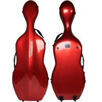 New Light Strong Red Fiberglass 4 4 Size Cello Case Bag Perfect Workmanship 2 Wheels 4