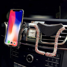 Bling Diamond Universal Car Phone Holder Crystal Rhinestone Air Vent Mount iPhone Clip Cell